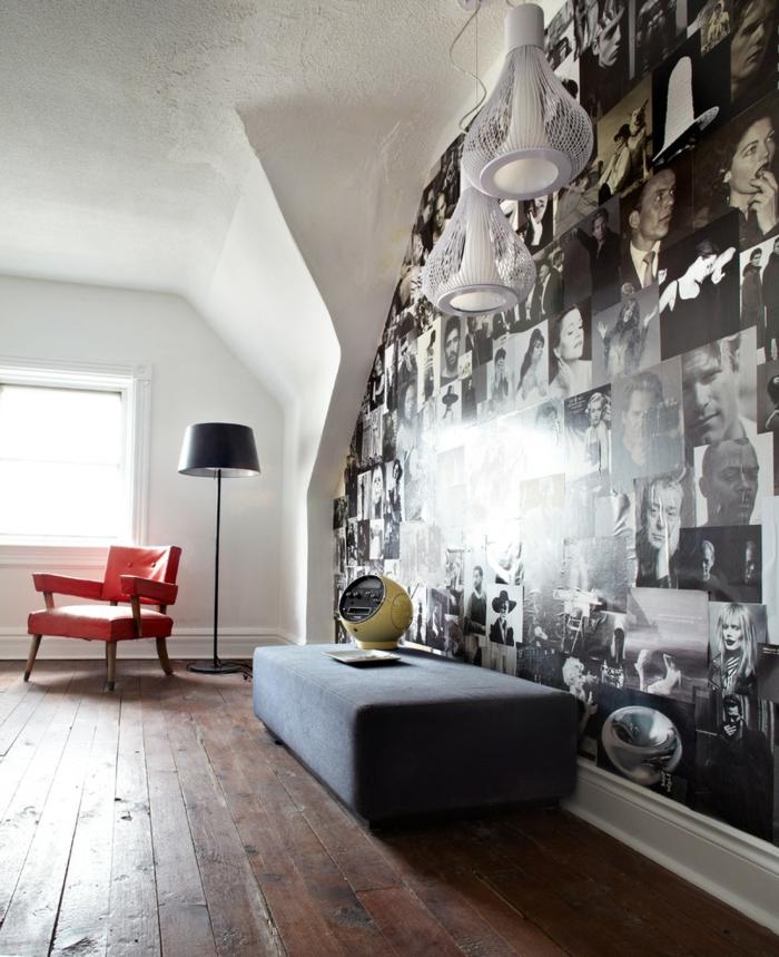 fotos originales, precioso interior en estilo vintage, pared original tapizada con fotos de gente famosa del siglo veinte, ideas originales DIY