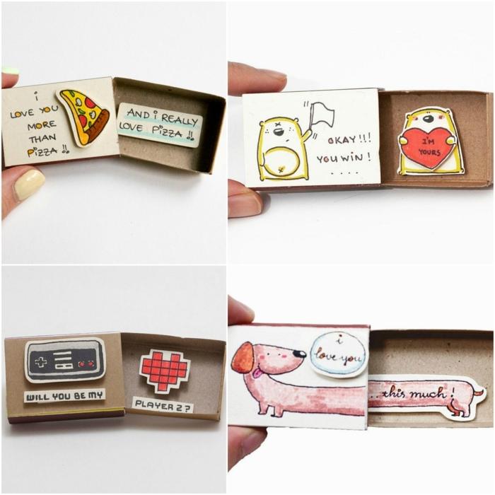 cuatro propuesta divertidas para regalos de San Valentín románticos, sorpresas divertidas con mensaje amoroso
