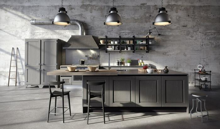muebles de cocina de madera pintados en gris con lámparas vintage, grande armario con barra de madera en el centro de la habitación