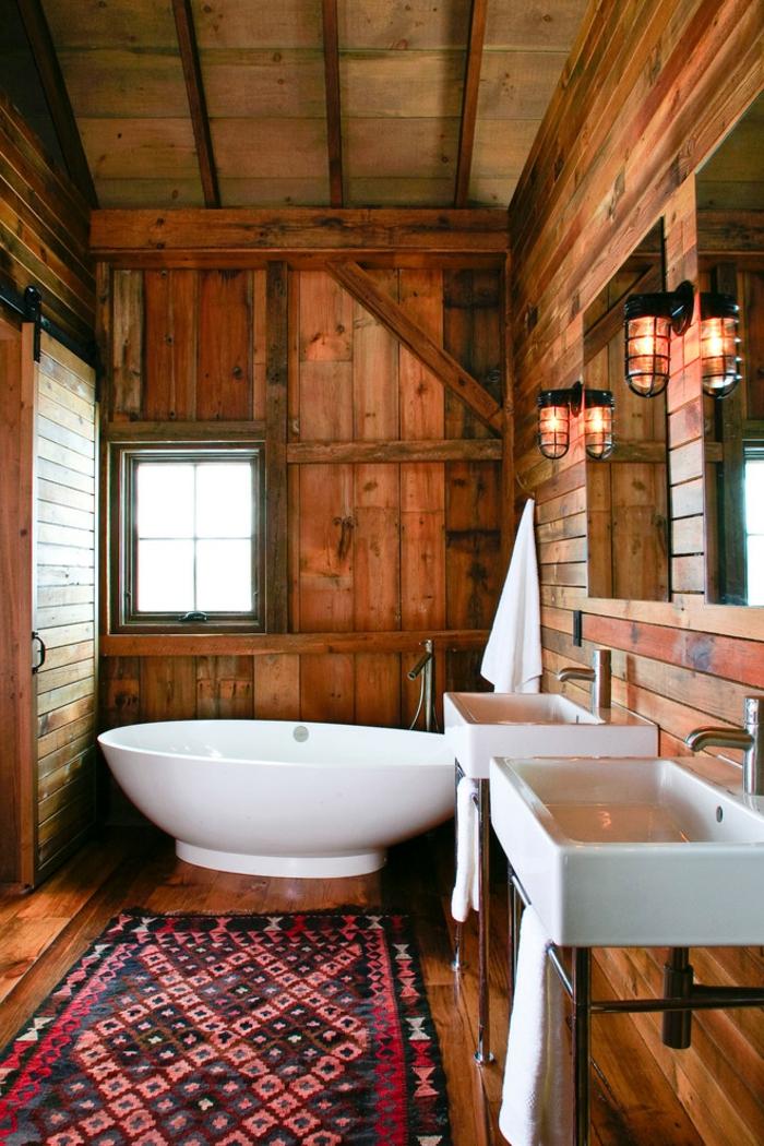 ideas para decorar baños rústicos con elementos en estilo moderno, baño pequeño revestido de madera, muebles modernos en blanco