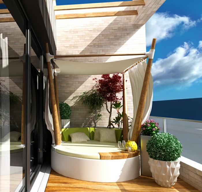 propuesta elegante de mueblas para la terraza, ideas de decoracion terrazas frescas, balcón en colores claros con plantas verdes