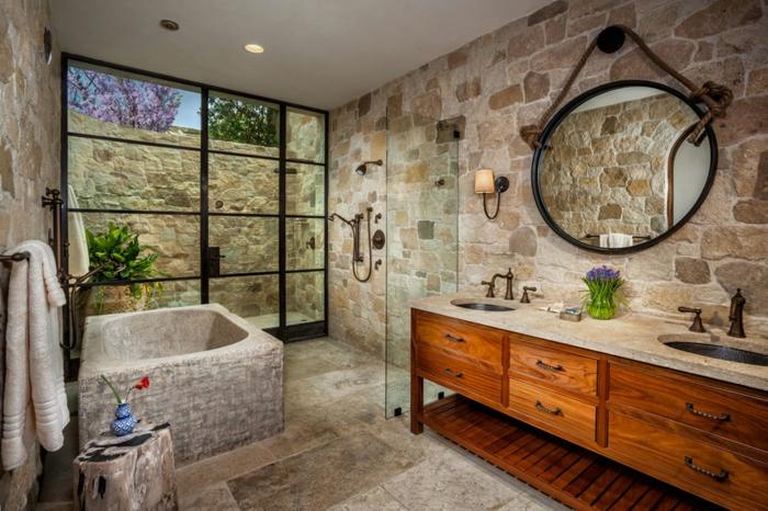 decoración de baños rústicos, cuarto de baño moderno con toque rústico, diseño original bañera de piedra de forma cuadrada