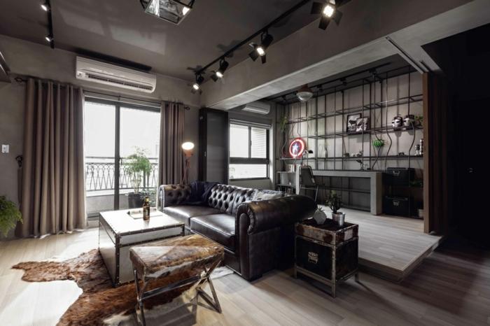 interior en colores oscuros, cocina abierta al salón, cocinas baratas modernas en estilo industrial, cocinas modernas en beige