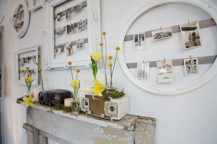 marcos de fotos originales, recibidor original con armario vintage con efecto envejecido, marcos original con ornamentos en color blanco