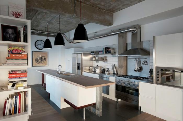 ejemplo de encanto de cocina en estilo industrial decorada en blanco, cocinas baratas con diseño simple