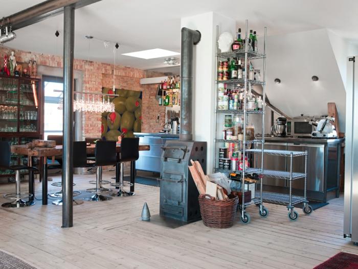 diseño atractivo comedor abierto al cocina, cocinas baratas amuebladas en estilo industrial con toque vintage