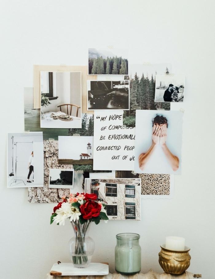 manualidades con fotos, decoración original DIY, fotos de diferente forma y tamaño pegadas en la pared en blanco