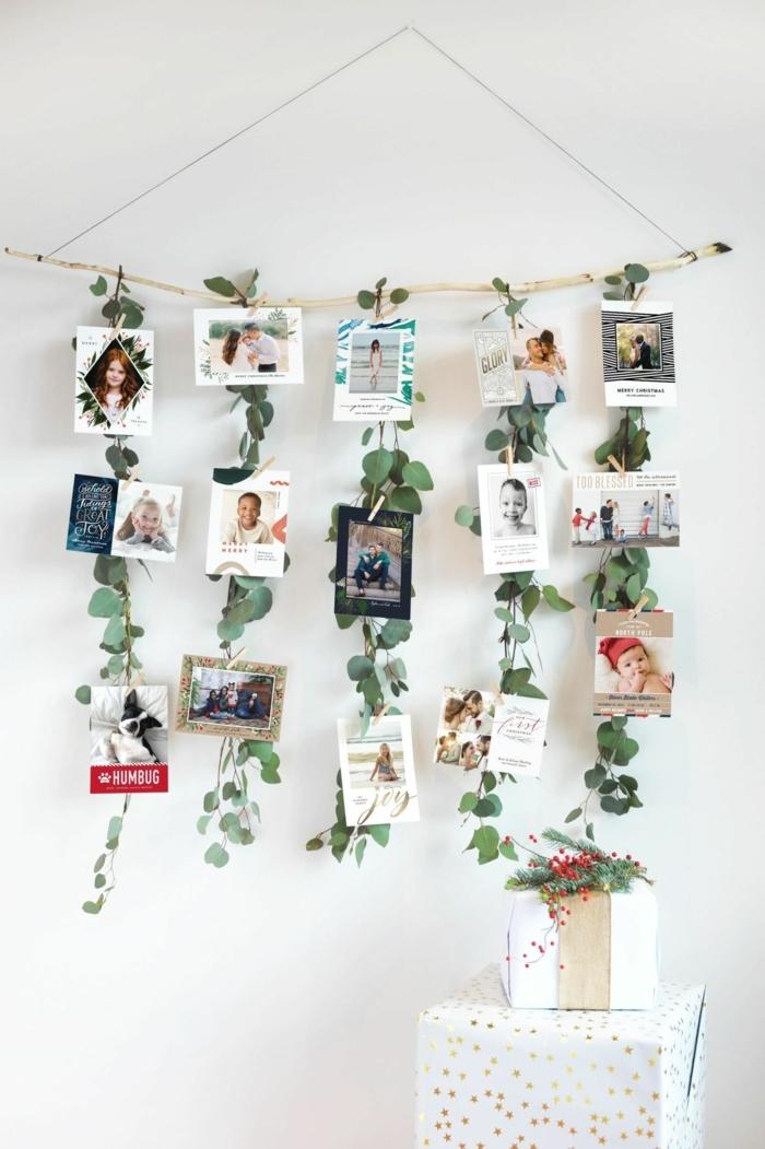 decorar con fotos, preciosa idea con decoración de fotos y plantas, fotos familiares sin marco colgadas a un árbol, ideas DIY