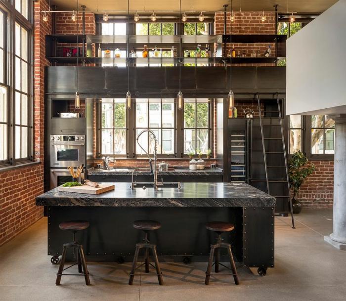 1001 ideas de dise o de cocinas de estilo industrial for Cocinas modernas con piso de madera