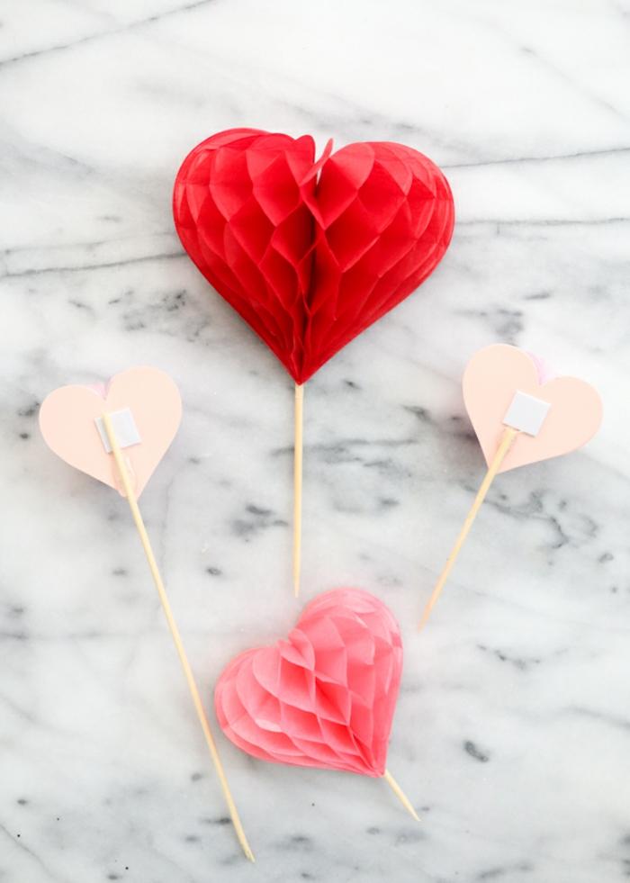 decoración de encanto para el día de los enamorados, palillos de madera con corazones de papel tridimensionales