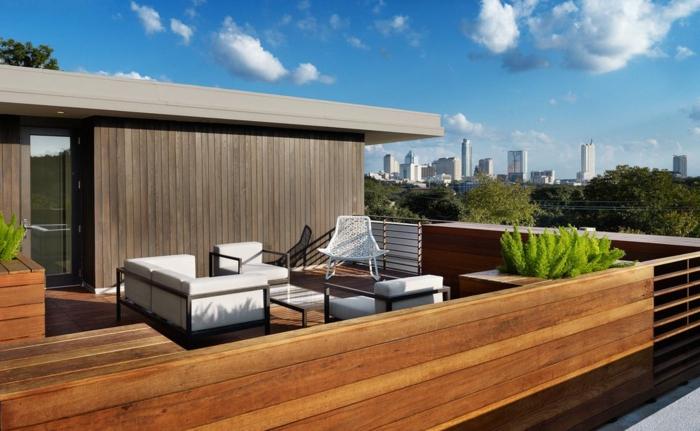 ejemplo de una terraza moderna con muebles en estilo contemporáneo y diseño sencillo, decoracion terrazas en blanco con plantas verdes