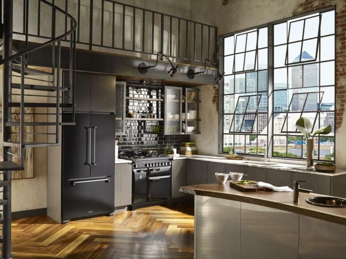 cocina industrial, con diseño de ventanas original, cocinas baratas decoradas en estilo industrial, armarios en gris y negro