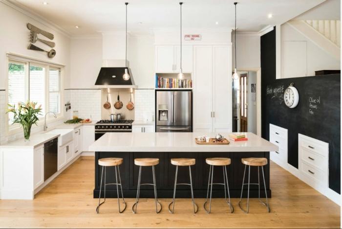 cocina blanca con elementos del estilo industrial, nuevo estilo con elementos decorativos originales en el diseño