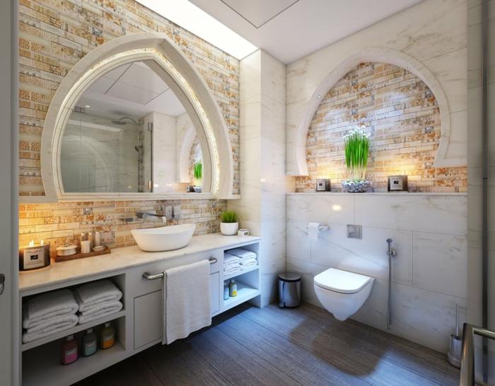 propuesta encantadora de baños rústicos, cuarto de baño en tonos claros con imitación de ladrillos en los paredes