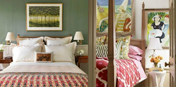 dos propuestas encantadoras de habitaciones decoradas en verde y rojo, reproducciones de pinturas famosas, decorar con cuadros ikea