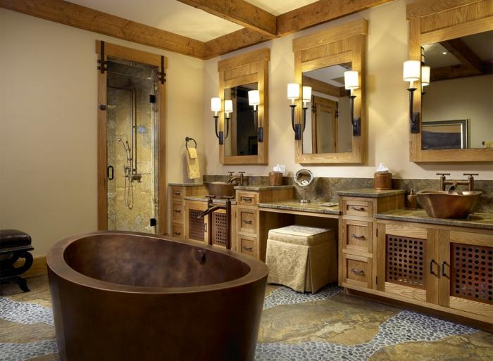 1001 ideas sobre decoraci n de ba os r sticos modernos for Muebles de cuarto de bano grandes