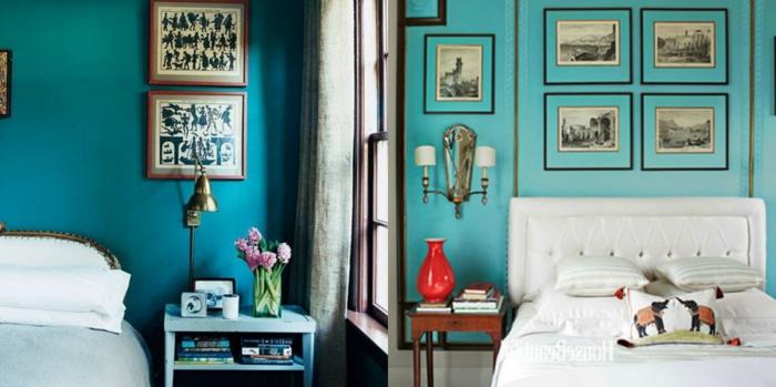 dos cuartos con camas individuales en estilo vintage, cuadros ikea en blanco y negro, paredes en color aguamarina