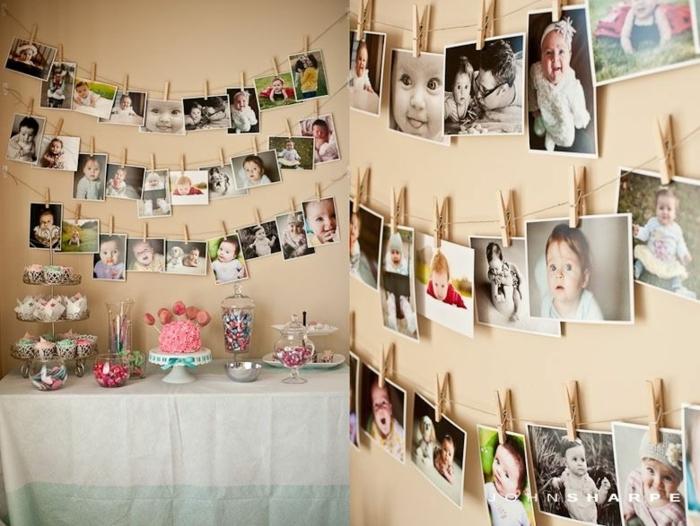 fotos originales, pared en color ocre decorada con fotografías de niños y bebés, idea original para un cumpleaños infantil
