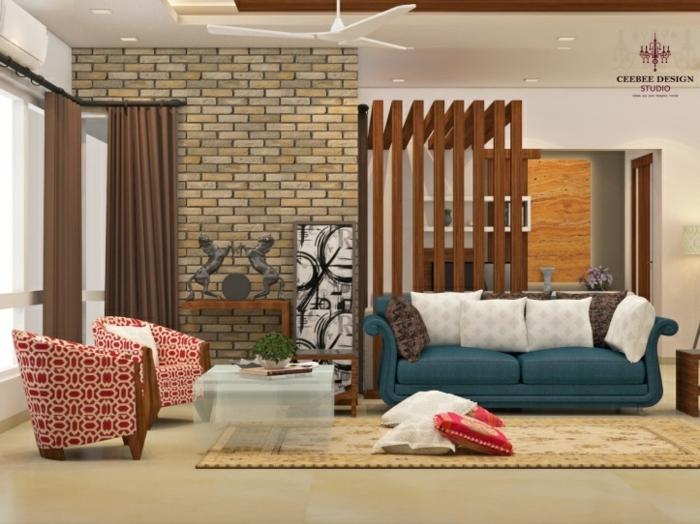 separadores de ambientes, salón acogedor con muebles modernos, sillones en estampados en blanco y rojo, pared con ladrillos, sofá tapizado en terciopelo azul