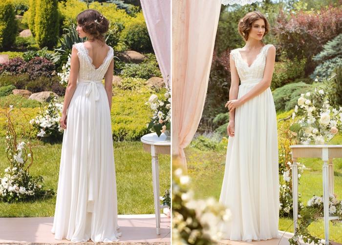 vestidos novia baratos, vestido en color champán de corte princesa con motivos de encaje y falda aireada, pelo en recogido con trenzas