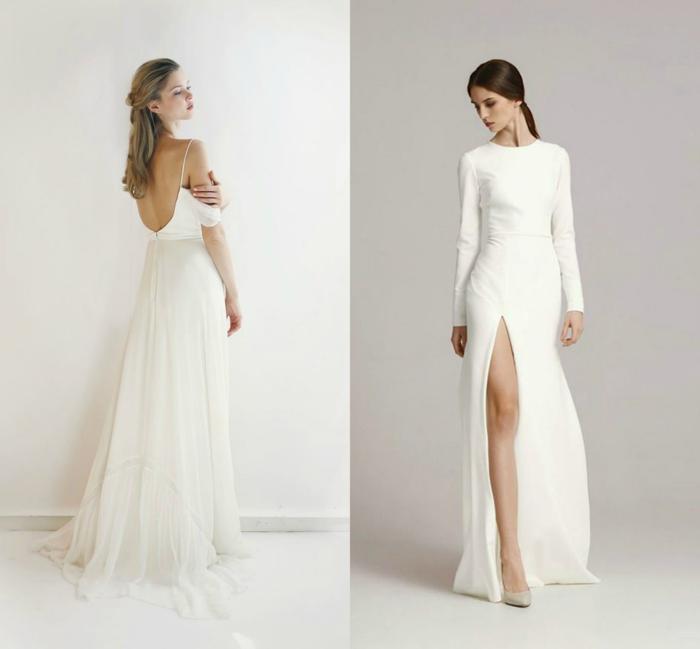 vestidos bonitos, dos propuesta modernas de vestidos de corte sencillo, ideas de vestidos largos en blanco