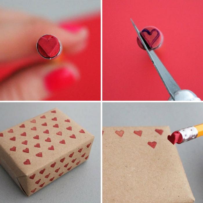 sello decorativo DIY en forma de corazón, ideas para regalos romanticos para San Valentín, embalaje de regalos casero