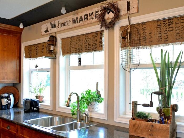 cortinas baratas, cortinas hechas a mano de sacos de cafe, idea original para decorar tu cocina, viga da madera decorada