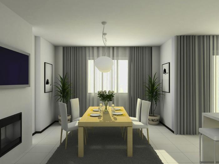 cortinas baratas comedor refinado con cortinas aireadas con visillo en gris, mesa de madera rectangular, alfombra en gris