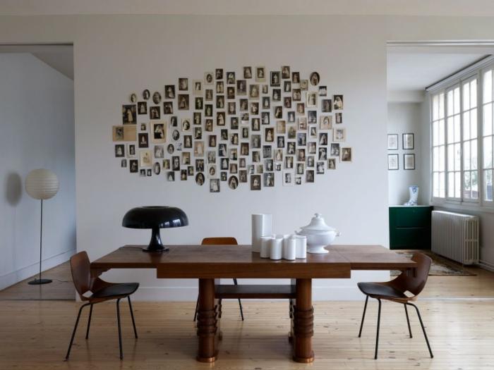 manualidades con fotos, idea DIY para decorar las paredes en una habitación con poco amueblamiento, fotos pequeñas viejas pegadas en la pared