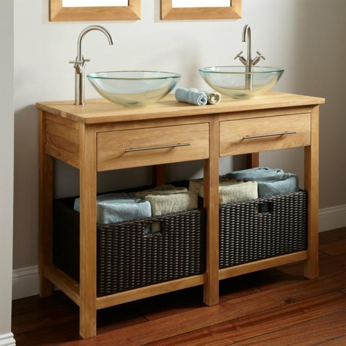 armario moderno de madera para un baño con decoracion rustica, lavabos de cristal estilo rústico