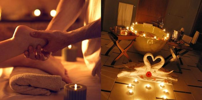 como sorprender a mi novia, propuesta para regalos romanticos, masaje y cena romántica con bañera decorada de rosas y muchas rosas