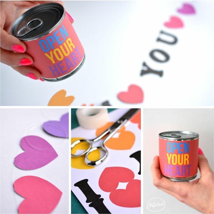 regalos romanticos y originales para el Dia de los enamorados hechos a mano, lata con etiqueta decorativa, mensaje de amor con letras coloridas