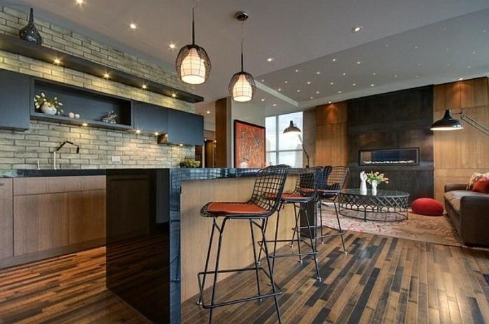 muebles cocina modernos, espacios en estilo contemporáneo con toque industrial, paredes con papel pintado imitando ladrillos