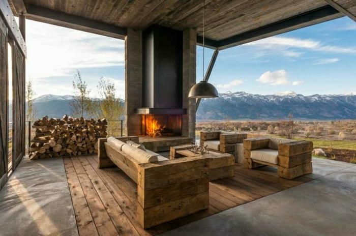 pérgolas de madera, ideas para decorar terrazas de madera, muebles originales de palets, almacenamiento de leña