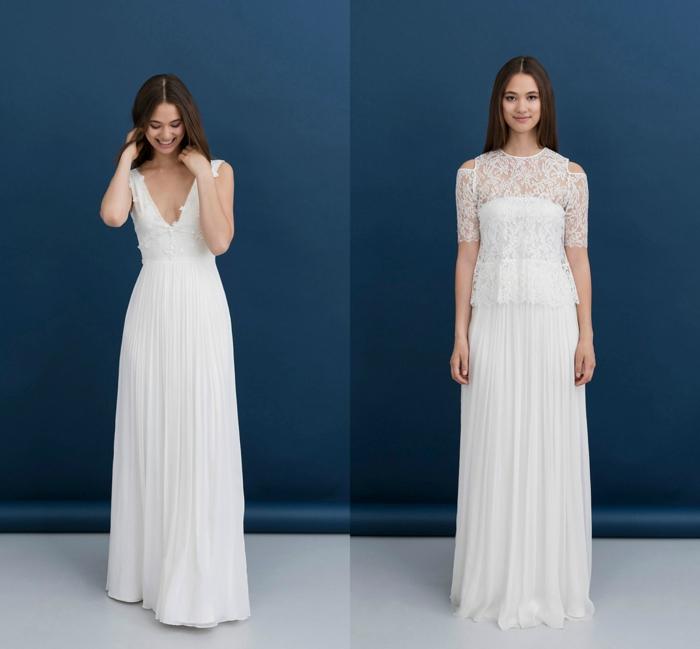 vestidos de novia 2017, dos propuestas encantadores de vestidos de novia sencillos, corte de vestido princesa y decoración de encaje