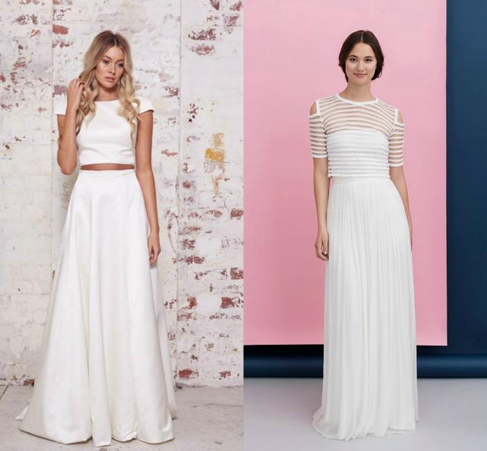 vestidos de novia 2017, dos propuestas de vestido en dos piezas, largas faldas en volantes y parte superior de mangas cortas