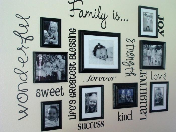 ideas para fotos, fotgorafias familiares en blanco y negro con palabras escritas en negro en la pared, marcos de madera en negro