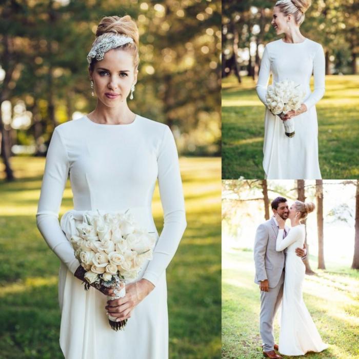 vestidos bonitos, vestido de novia simple de líneas limpias con punto focal en el peinado, precioso adorno para el pelo, ramo de rosas blancas