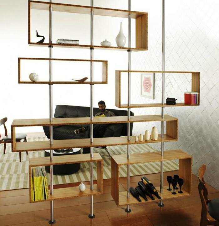 biombos ikea, estantería original de madera, con viras de meta, salón en etilo moderno y diseño original