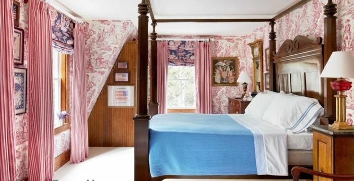 habitacion en estilo vintage con elementos en rosado y rojo, cuadros ikea y muebles vintage, cama con marco de madera alto