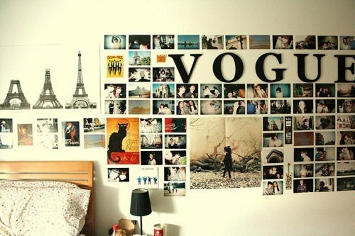 marcos de fotos originales, propuesta encantadora, dormitorio moderno decorado de muchas fotos con vinilo de pared decorativo