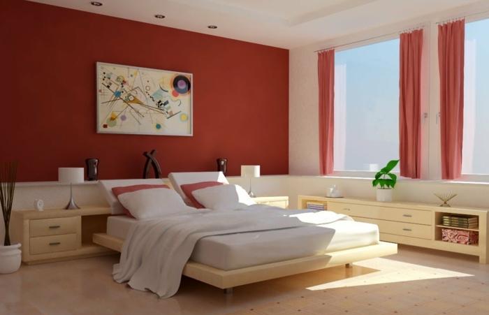 decoración de dormitorios con cuadros modernos, habitación en estilo contemporáneo, paredes pintadas en color teja