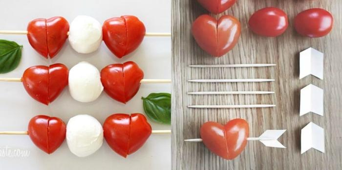 pequeñas tapas hechas de queso mozzarella y tomates, como sorprender a tu pareja de manera sencilla y original