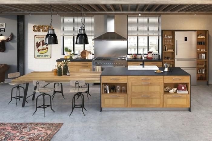 preciosa barra multifuncional de madera, cocina con comedor, muebles cocina de madera, lámparas y decoración vintage