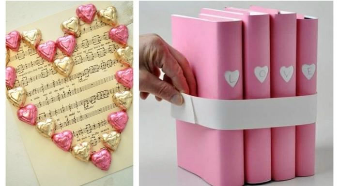 dos propuestas sobre como sorprender a tu pareja, idea con caramelos y hoja de notas y portadas para libros DIY