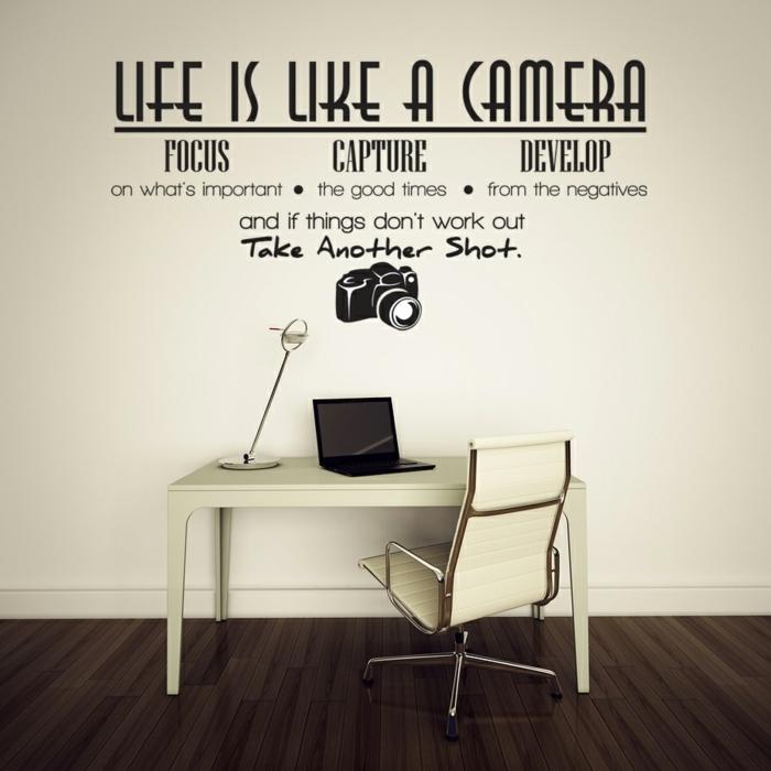 ideas para fotos, vinilo de pared interesante y moderno con dibujo de foto camera, escritorio y silla modernos en beige