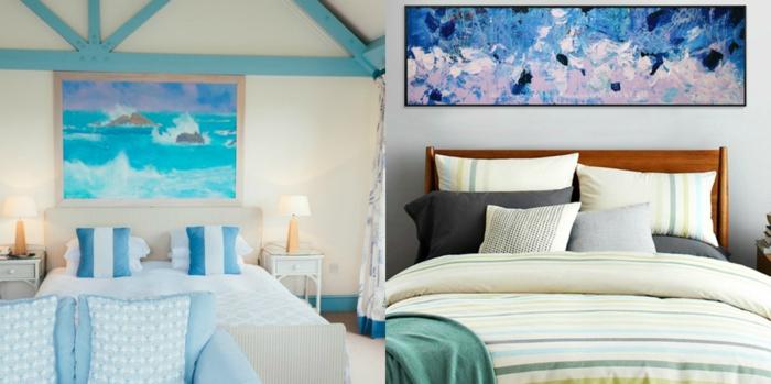 dos propuestas espectaculares de dormitorios en el gama azul decorados con cuadros modernos, camas mpatrimonio