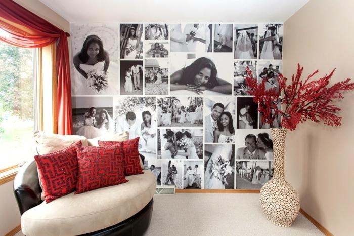 marcos de fotos originales, salón moderno decorado en beige y rojo con pared cubierta en fotos en blanco y negro, fotografías grandes de boda