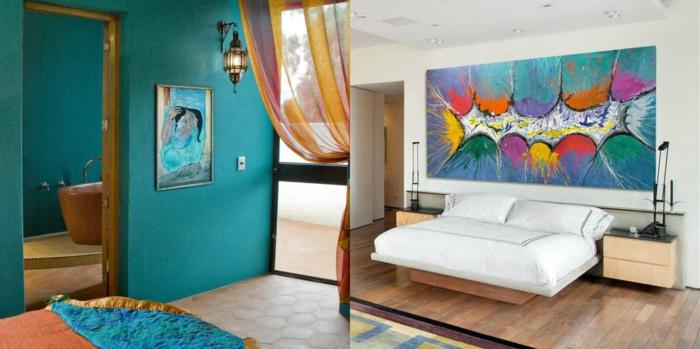 ejemplos fantásticos de ambientes decorados de cuadros decorativos, dormitorios modernos y pinturas impresionistas