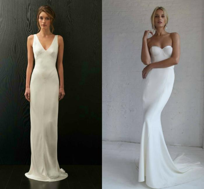 vestidos boda civil, dos ejemplos de vestidos de silueta simples, vestidos de corte recto y grande escote